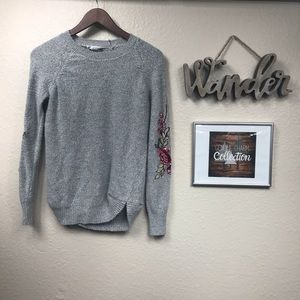 Cloud chaser grey soft sweater with floral sleeve